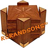 RGRANDSONS® Wooden Tea Coaster Wood Table Coaster Set Of 6 For Tea Cups Coffee Mugs Beer Cans Bar Tumblers And Water Glasses Square Piller Drink Handmade