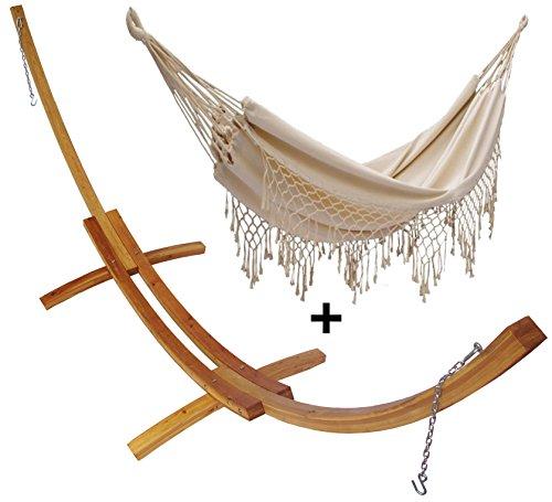 Support demi lune double bois mélèze et son hamac double à franges écru, hamac détente