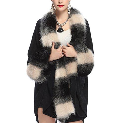 Kaxidy donne scialli elegante scialle capispalla mantelli cappotti poncho e mantelle (nero)