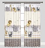 Kinder Vorhänge für Kinderzimmer 100% Baumwolle, 155 x 155 cm (beige zoo imagine)