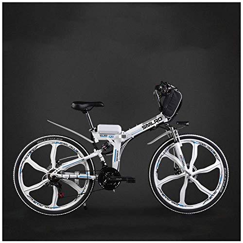CAKG Ciclomotor Adulto eléctrico de la Bici de montaña de la Ciudad de la Bici Plegable, batería de Litio 48v Coche de batería del Poder de 26 Pulgadas,White-Three~Knife Wheel