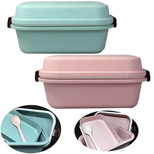 LS-LebenStil Bento Lunchbox Picknick Frühstücksbox Brotdose Vesperdose Kinder Blau Türkis 4tlg.