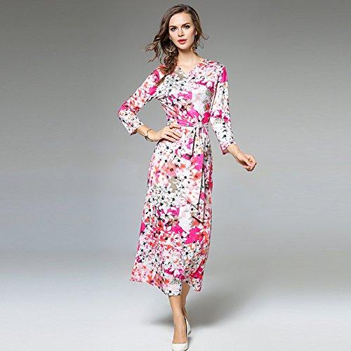 kekafu Women's Casual/Täglich Einfache Mantel Kleid, Polka Dot V-Ausschnitt Maxi Langarm Polyester Winter fallen, Mittelhohes Micro-elastischen Opak, 2XL, Blau (Womens Polka Dot Mantel)