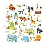 Sticker Mural-Stickers Muraux Jungle Animal Safari - Singe, Éléphant, Cheval Stickers/Chambre/Stickers Muraux/La Maison/Autocollants Décoratifs/Chambre D'Enfant/Dessin Animé
