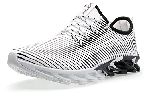 JOOMRA Herren Laufschuh mit Guter Dämpfung Freizeit Mode Sneaker Flexible Leichte Laufsohle Sportschuh für Berge, Felder, Strände und durch Flüsse zu Laufen Männer Weiß,Schwarz 44 EU