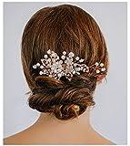 SWEETV Handgefertigt Hochzeit Haarkämme Perle Kristallm Haar Kam Haarnadeln Braut Kopfschmuck, Rosa Gold