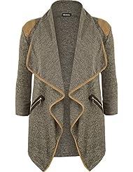 WearAll - Damen Gestrickt Geöffnet Reißverschluss Tasche Lang Hülle Schulter Top Strickjacke - 4 Farben - Größe 36-42