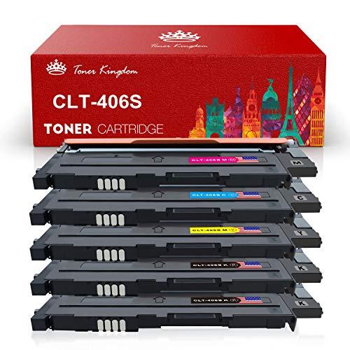 Toner Kingdom 5 Pack kompatibel Tonerpatronen für Samsung CLT-P406C CLT-K406S CLT-C406S CLT-M406S CLT-Y406STonerpatronen für Samsung Xpress C410W C460 C460W, CLT-406S CLP-360 CLP-365 CLP-365W CLX-3300 CLX-3305 CLX-3305FN CLX-3305FW CLX-3305N CLX-3305W Drucker (2 Schwarz,1 Cyan,1 Gelb,1 Magenta)