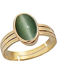 Gemorio cat's eye Lehsunia 9.3cts or 10.25ratti stone Panchdhatu Adjustable Ring For Women