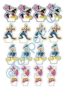 16 - Mickey Mouse, Minnie, Goofy, Donald & Daisy essbaren Kuchendeckel Dekorationen