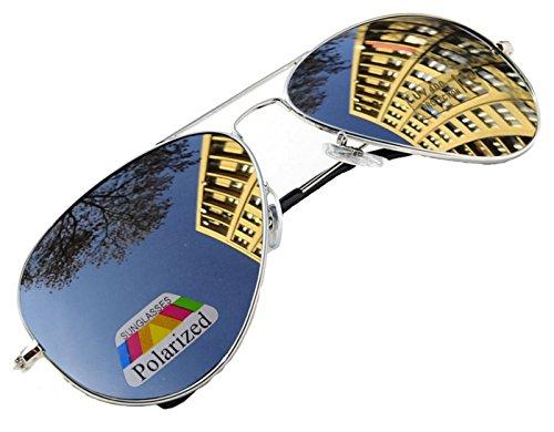 4sold Klassische Unisex Polarisierte Sonnenbrille in vielen Farbkombinationen (Silber)
