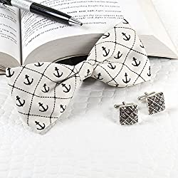Giftacrossindia Anchor Polyester Suede Collection Bow with Silver colour Cufflinks of Quality Fabric for Mens.
