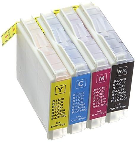 Prestige Cartridge LC1000 / LC970 Lot de 8 Cartouches d'encre compatible avec Imprimante Brother DCP-130C, DCP-135C, DCP-150C, DCP-153C, DCP-155C, DCP-157C, DCP-260C, DCP-330C, DCP-350C, DCP-353C, DCP-357C, DCP-375C, DCP-540CN, DCP-560CN, DCP-750CW, DCP-770CW, Fax-1355, 1360, 1460, 1560, 1860C, 1960C, 2480C, 2580C, 2840C, MFC-230C, 235C, 240C, 240CN, 260C, 345CW, 440CN, 460CN, 465CN, 560CN, 630CD, 630CDW, 660CN, 665CW, 680CN, 685CW, 690CN, 845CW, 850CDN, 850CDWN, 860CDN, 885CW, 3360C, 5460CN, 5860CN, Noir/Cyan/Magenta/Jaune