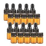 Shizak 20PCS mini 2ml Essential oil roller ambrato/Tiny ricaricabile vuote aromaterapia profumo liquido vetro flaconcini (5/8DRAM) olio Jar Container (pezzi con tappi & 10PCS con contagocce)
