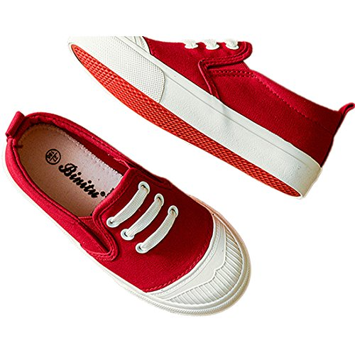 Mode Kinder Kleinkind Segeltuch Sneaker Süßigkeiten Farbe Schuhe Schlüpfen Junge Mädchen Beiläufig Schuhe Rot