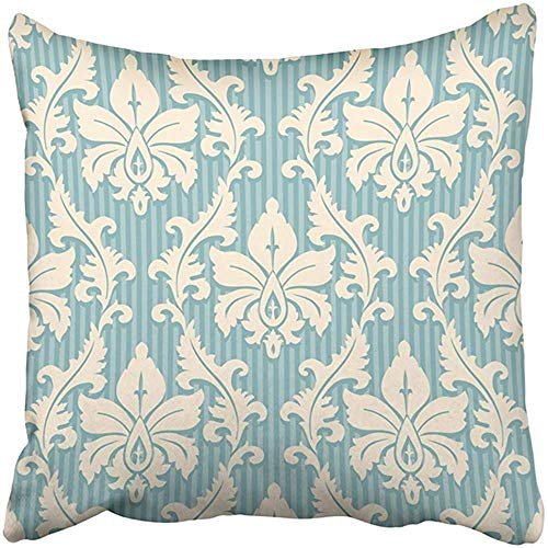 gthytjhv OUDNF Wurfkissenbezug Polyester 18X18 Inch Vintage Floral Pattern Light Yellow and Blue Striped Damask Geometric Antique Artistic Two Sides Decorative Square Print Pillowcase for Home -