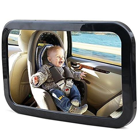 Kingseye Baby-Autospiegel, 360 Grad-Winkel,breit, für die Einsicht des Rücksitzes, für mehr Sicherheit, zum Beobachten des Babys, passend für jede verstellbare Kopfstütze, starker Doppelgurt, ausAcrylglas, bruchsicher,einfache Installation, für nach hinten gerichtete Kindersitze, schützt Ihr (Adjustable Tilt Spiegel)