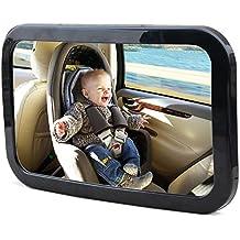 Espejo de carro para bebéKingseye, 360,visión amplia de asiento trasero, espejo de seguridad para bebé, se adapta a cualquier reposacabezas, fuertes correas dobles, resistente cristal acrílico, de fácil instalación para ver el asiento del bebé, protege su bebé