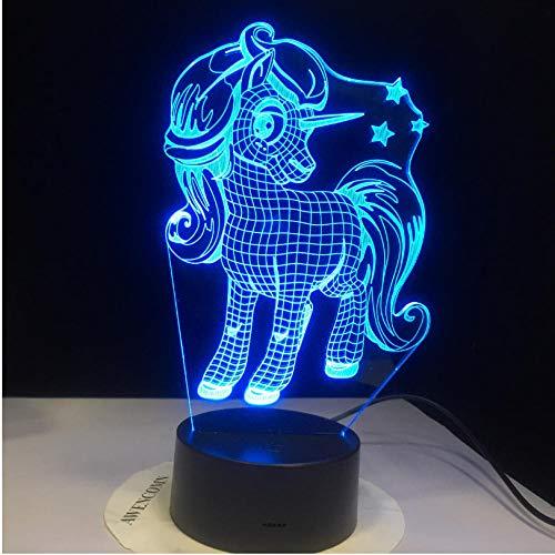 Bunter Änderungseffekt des netten Nachtlichtes des Ponys 3D beste Geschenkmädchen-Kinderfeiertagsbeleuchtung