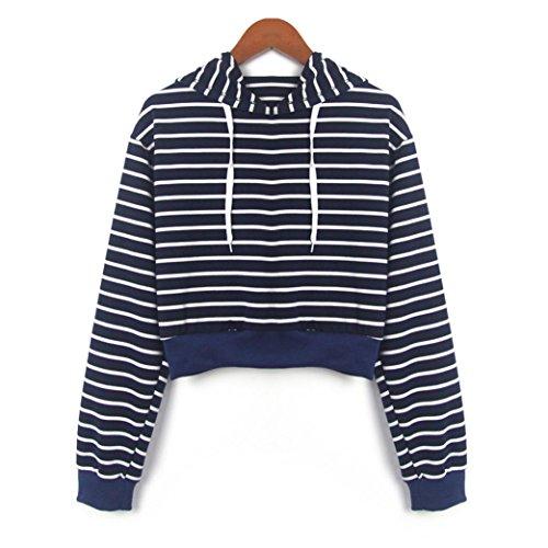 (JUTOO Mode Damen T-Shirt Gestreiften Hoodie Casual Tops Bluse(Marine,EU:42/CN:L))
