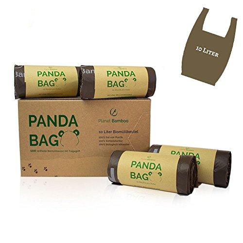Planet Bamboo: Kompostierbare Bio-Müllbeutel (10 L mit Tragegriff | 100 Stück | Braun) 100% kompostierbar nach EN 13432