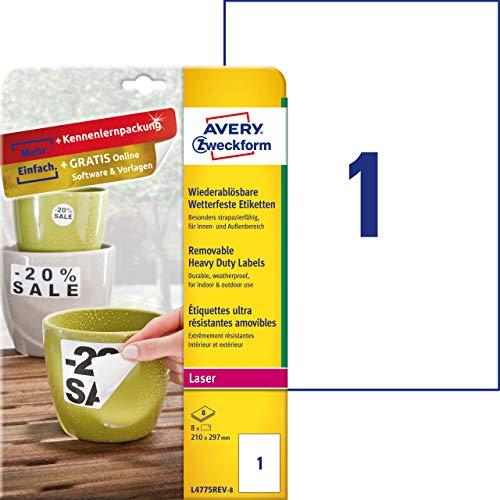 AVERY Zweckform L4775REV-8 Wetterfeste Folien-Etiketten, wiederablösbar (210x297 mm auf DIN A4, selbstklebend, bedruckbare Outdoor Klebefolie) 8 Aufkleber auf 8 Blatt weiß (Folie-etiketten)