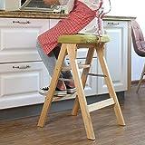 Step Stool Wooden- Escabeau Portable Pliant Le Support de Tabouret d'étape Polyvalent d'échelle portative, Bois 3 étapes Welcome (Couleur : Couleur du Bois, Taille : # 2)