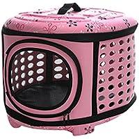 JEELINBORE Respirable Plegable Bolsa para Perro Gato Cómodo Viaje Portador de Mascotas Al Aire Libre (Rosa, L)