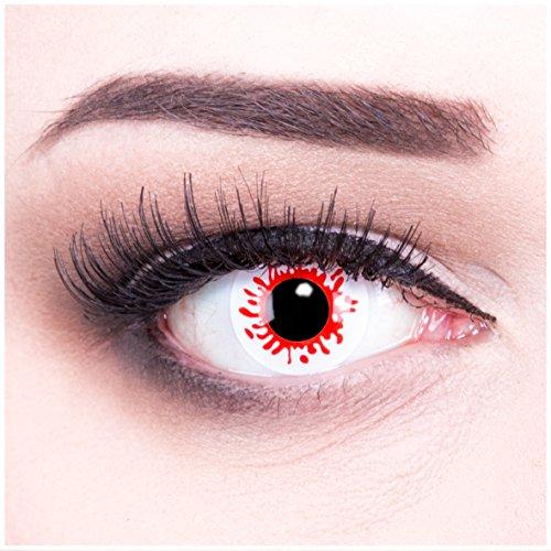 Meralens rote Kontaktlinsen, Blood Splatter mit Pflegemittel ohne Stärke, 1er Pack (1 x 2 Stück)