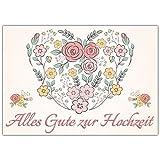 A4 XXL Hochzeitskarte BLUMEN-HERZ mit Umschlag - edle Glückwunschkarte zum Aufklappen mit romantischem Motiv zur Hochzeit - Maxikarte von BREITENWERK