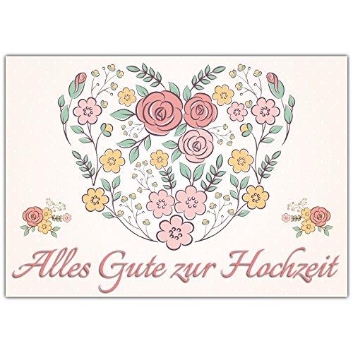 A4 XXL Hochzeitskarte BLUMEN-HERZ mit Umschlag - edle Glückwunschkarte zum Aufklappen mit...