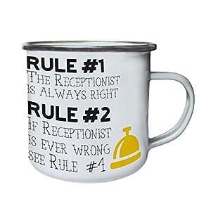recepcionistas: regla 1, la recepcionista siempre tiene la razón Retro, lata, taza del esmalte 1...