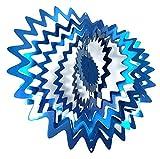 WorldaWhirl Musique 3D à Vent Peinte à la Main en Acier Inoxydable Twister étoile Splash 12 inch Bleu