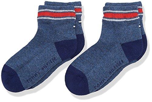 Tommy Hilfiger Jungen TH Kids Iconic Sports Quarter 2P Socken, Blau (Jeans 356), 27-30 (2erPack)