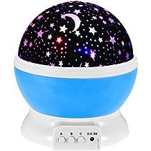 fourHeart De Proyector De Cielo Estrellado, rotación de 360 grados, Baby Luz nocturna Star lámpara de noche, Adaptador USB 3AAA 4LEDs , cumpleaños, partes, Hogar, Dormitorio, Dormitorio Infantil - Azul