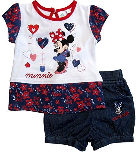 Minnie Mouse Kollektion 2018 T-Shirt und Hose 68 74 80 86 92 Shirt Mädchen Top Maus Set Weiß-Blau (86)