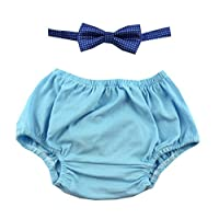 Cake Smash Outfit Boy First Birthday includes Bloomers and Bow Tie (Light Blue Bloomer and Royal Blue Bow)