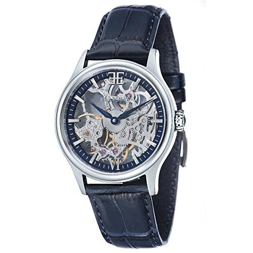 Thomas Earnhshaw – Reloj mecánico de hombre Bauer Shadow con esfera azul, mecanismo a la vista y correa de cuero azul, ES-8061-02