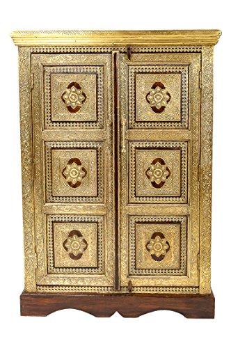 Orientalischer Kleiner Schrank Kleiderschrank Walava 120cm hoch | Marokkanischer Vintage Dielenschrank schmal | Orientalische Schränke aus Holz massiv für den Flur, Schlafzimmer, Wohnzimmer oder Bad - Orientalische Möbel Wohnzimmer Schrank