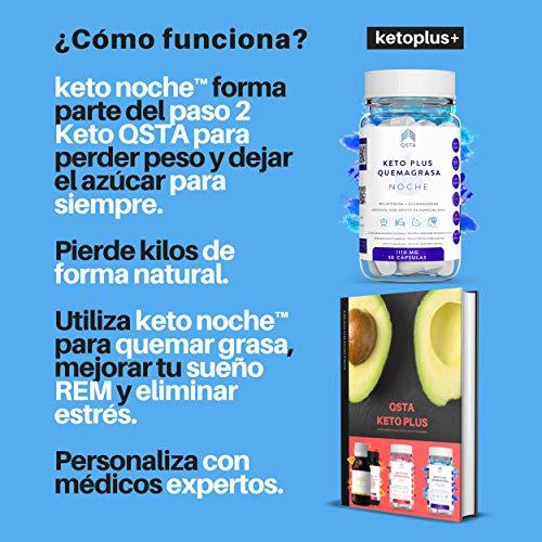 Keto Plus Quemagrasas NOCHE 3- EN- 1 Adelgazante + Melatonina 1mg + Ashwagandha + Quema grasas potente y rapido para adelgazar,  Pastillas para dormir y adelgazar muy rapido,  Fat Burner +1110MG +MEDICOS