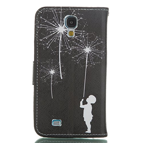 Coque pour Samsung Galaxy S6 Edge Plus, Etui pour Samsung Galaxy S6 Edge Plus, ISAKEN Peinture Style PU Cuir Flip Magnétique Portefeuille Etui Housse de Protection Coque Étui Case Cover avec Stand Sup Pissenlit Enfant