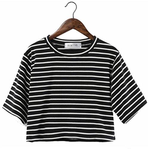 COCO clothing Damen Halbe Ärmel Gestreift Rundkragen Crop Top Casual Loose T-Shirt Frauen Hoher Taille Frühjahr Sommer Kurz Oberteil für Mädchen Studierende (S, Schwarz) -