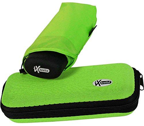 iX-brella Super-Mini-Taschenschirm - winziger Regenschirm im Etui - neon-grün