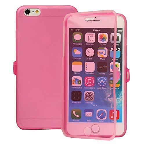 VComp-Shop® Silikon Handy Schutzhülle mit Klappe für Apple iPhone 6 Plus/ 6s Plus - HELLBLAU PINK