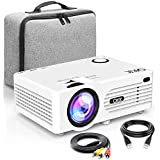 QKK 2200Lumen Mini LCD Projector Home Theater Projector, Support 1080P Full HD, HDMi, VGA, USB x 2(SD, AV and Headphones Interface, HDMI and AV Cable Multimedia Home Theatre Entertainment, White.