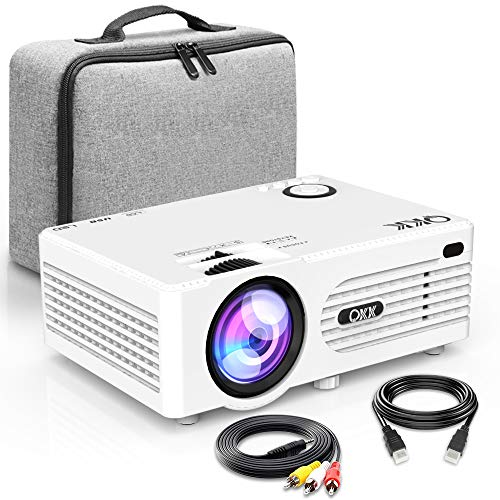 Proiettore QKK [Con Borsa Portatile], Mini Proiettore 3600 Lumens, Video Proiettore Supporta 1080P Full HD, Compatibile con HDMI VGA AV USB SD Dispositivi, Home Theater Proiettore, Bianco.