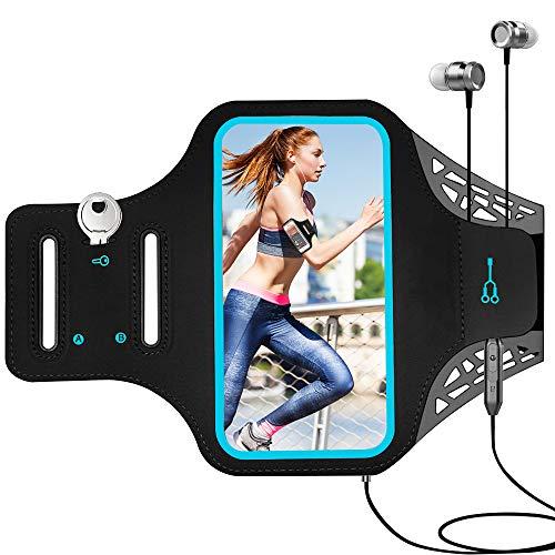 tonitott Schweißfest Sport Armband, Sportarmband Handy Fingerprind-Identifizierung Sport Armtasche Schlüsselhalter Kabelfach Kartenhalter für iPhone 6 Plus 7 Plus 8 Plus Samsung S7 S6