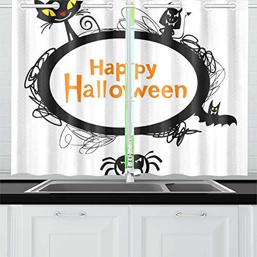 Kostüm Kopie Katze - JIUCHUAN Halloween-Rahmen-Silhouetten Schwarze Katze Küchenvorhänge Fenster Vorhangebenen für Café, Bad, Wäscherei, Wohnzimmer Schlafzimmer 26 X 39 Zoll 2 Stück