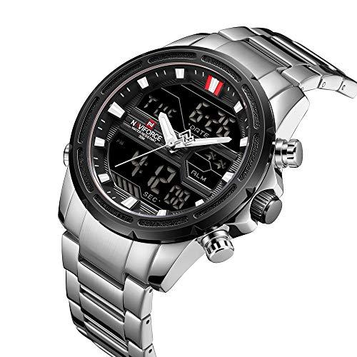 Reloj para Hombre NAVIFORCE con función de temporización de 13 dígitos, Hora, Fecha y día, Movimiento de Cuarzo analógico y Pantalla LCD multifunción Digital