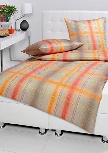 Estella Mako-Satin Bettwäsche Eilard-orange 100% Baumwolle 135x200 cm/80x80 cm , GRATIS 1x Microfaser Kinderbettwäsche 135 cm x 200 cm GRATIS